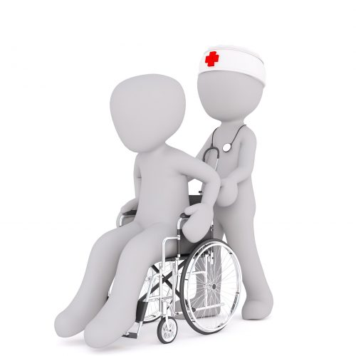 Digital image of a nurse with a red cross hat, pushing a figure in a wheelchair