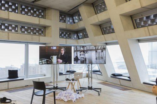 Photo of screening area inside Tate Modern livestreaming Noemi Lakmaiers' performance