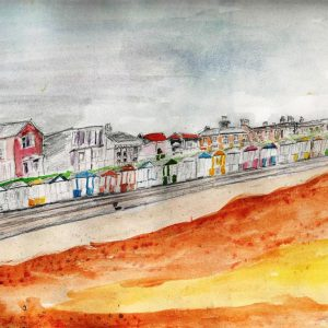 Watercolour painting of a sea front from the sands looking back at a promenade of houses