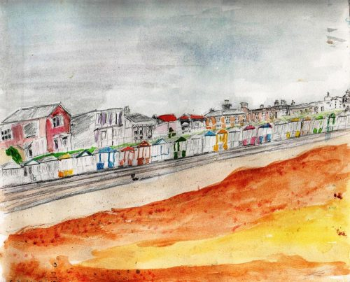Watercolour painting of a sea front from the sands looking back at a promenade of beach huts and houses