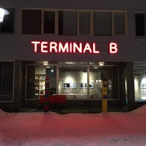 Photo of the outside of terminal B at a Finnish airport