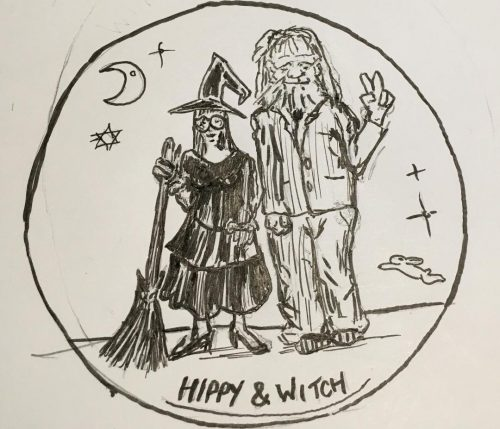 Loose pencil drawing of a man with long hair holding a peace sign and a woman dressed as a witch