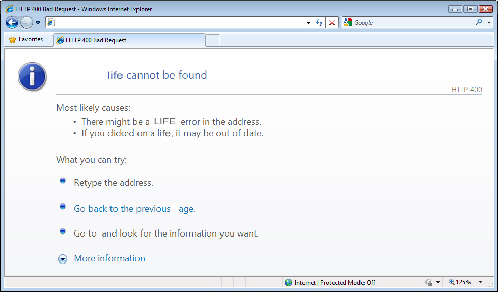 Fake internet 'life cannot be found' page
