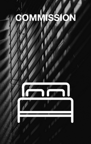 Bed overlaid over photograph of blinds