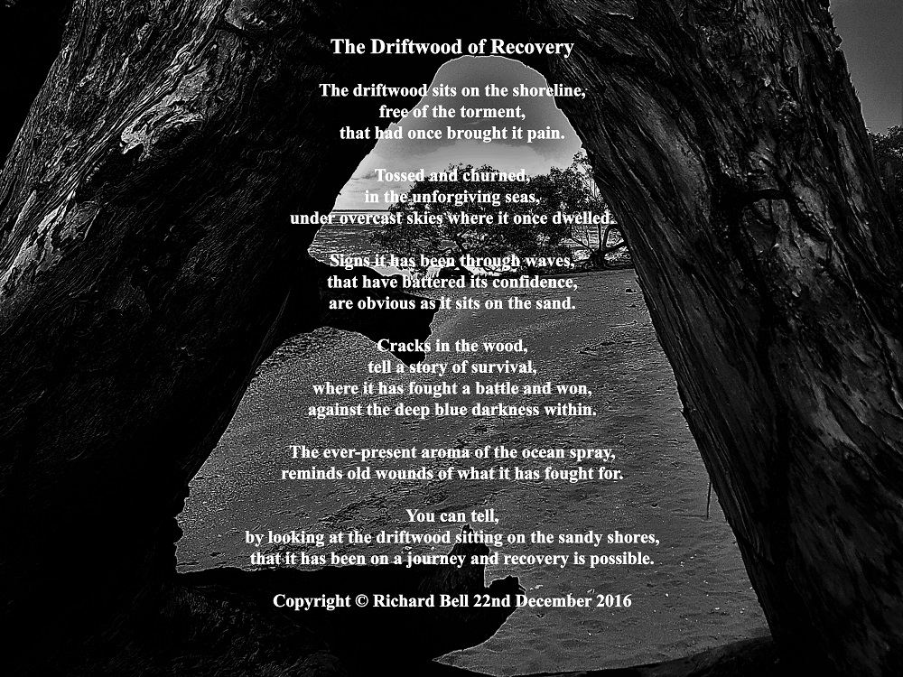 Poem by Richard Bell entitled driftwood of recovery set against a photograph of a piece of wood on a beach