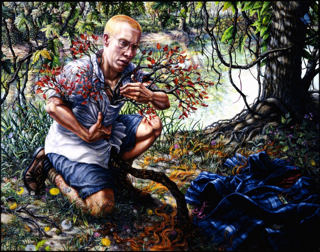 Highly detailed painting of a man with short bleach-blonde hair holding several leafy branches to his chest. He kneels on the woodland floor next to a lake