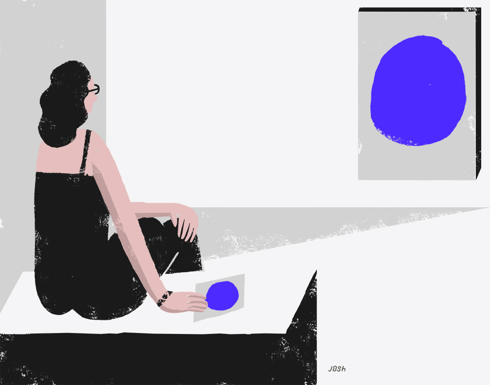 Illustration of woman sitting looking at a piece of art