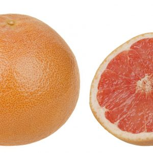 Photo of a grapefruit cut into two halves