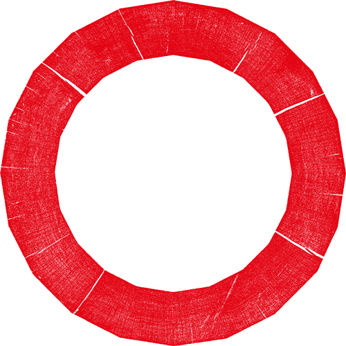 A large red outline of a circle