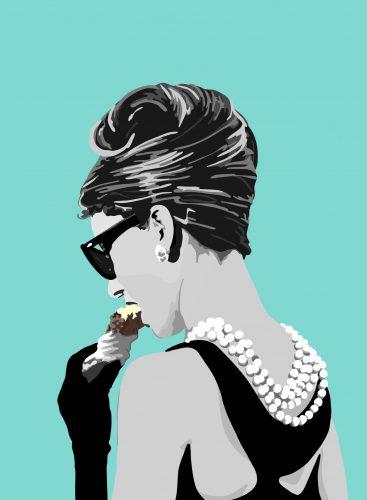 Stylised graphic image of Audrey Hepburn eating an ice cream