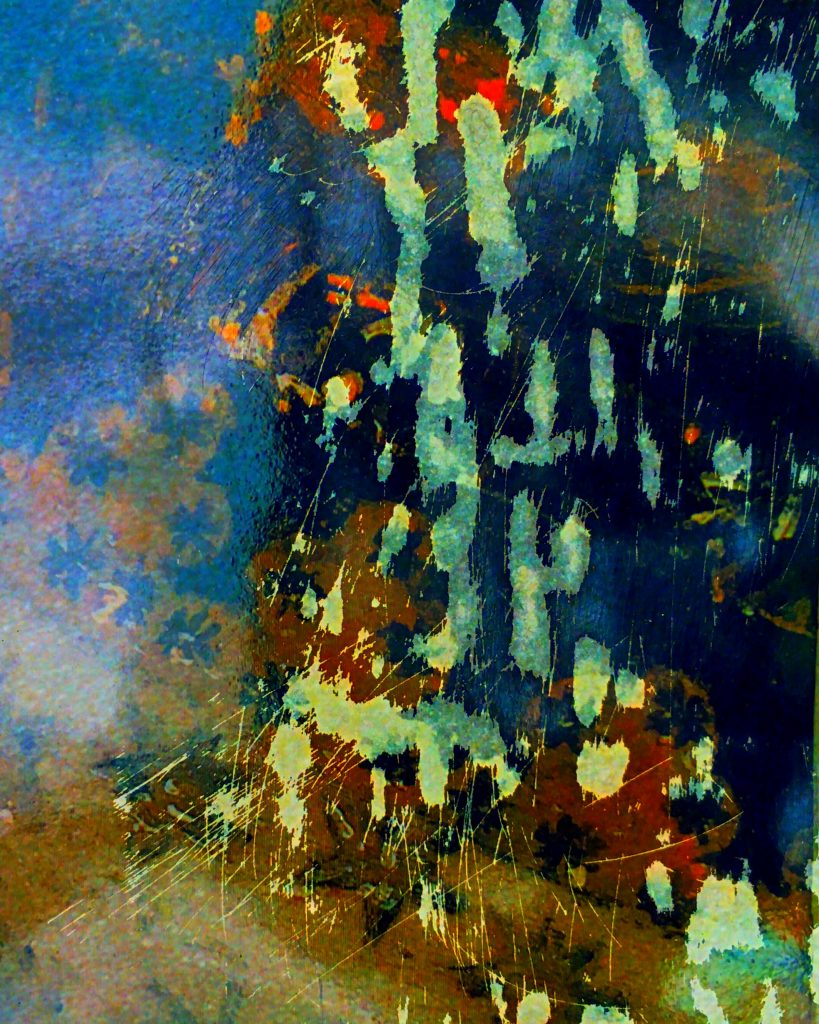 Abstract image involving layers of splattered colour