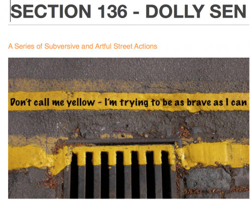 Photo of the sentence Don't call me yellow - I'm trying to be as brave as I can, written in black typeface along a yellow line next to a gutter