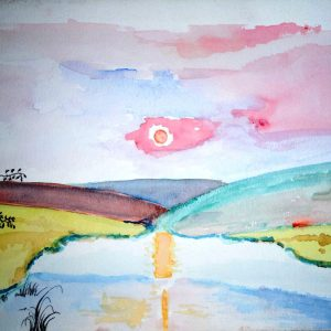 Watercolour image of a sunset over water