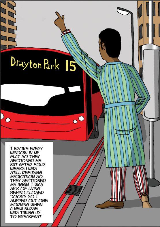 Cartoon of a man at a bus stop