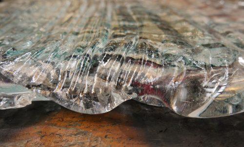 Side on shot of glass artwork