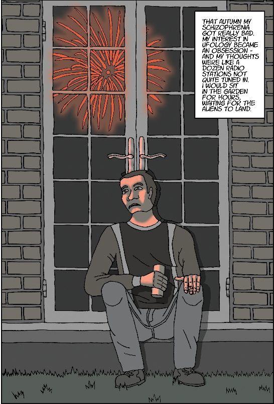 Cartoon of a man sitting on a step watching fireworks
