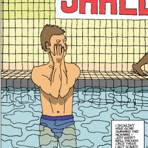 Cartoon of man in swimming pool