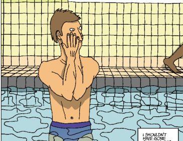 Cartoon of man in swimming pool