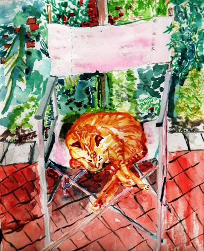 Watercolour painting of a cat sitting underneatha chair in the garden
