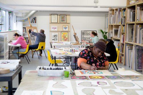 Artists in the Intoart studio