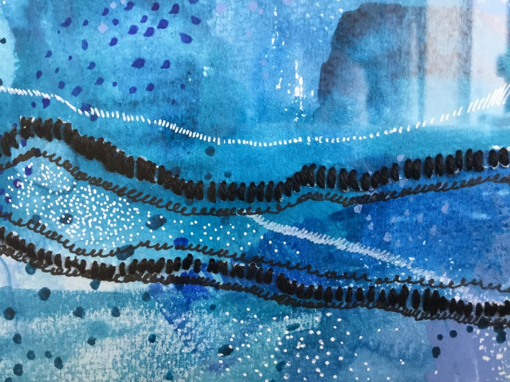 Close up of blue watercolour