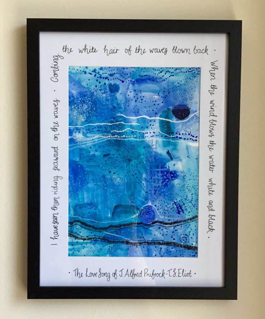 Rachel Rowan Olive framed blue watercolour