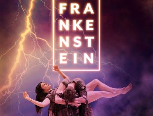 Frankenstein flyer; man hunched over levitating woman