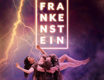 Frankenstein flyer; man hunched over levitating woman
