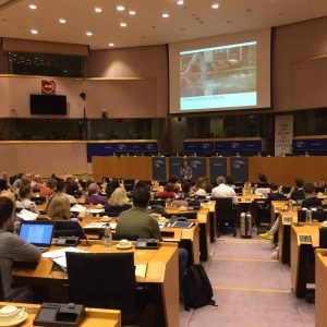 Presentation in Brussels conference room