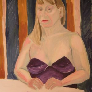 Portrait painting of a woman in a purple dress
