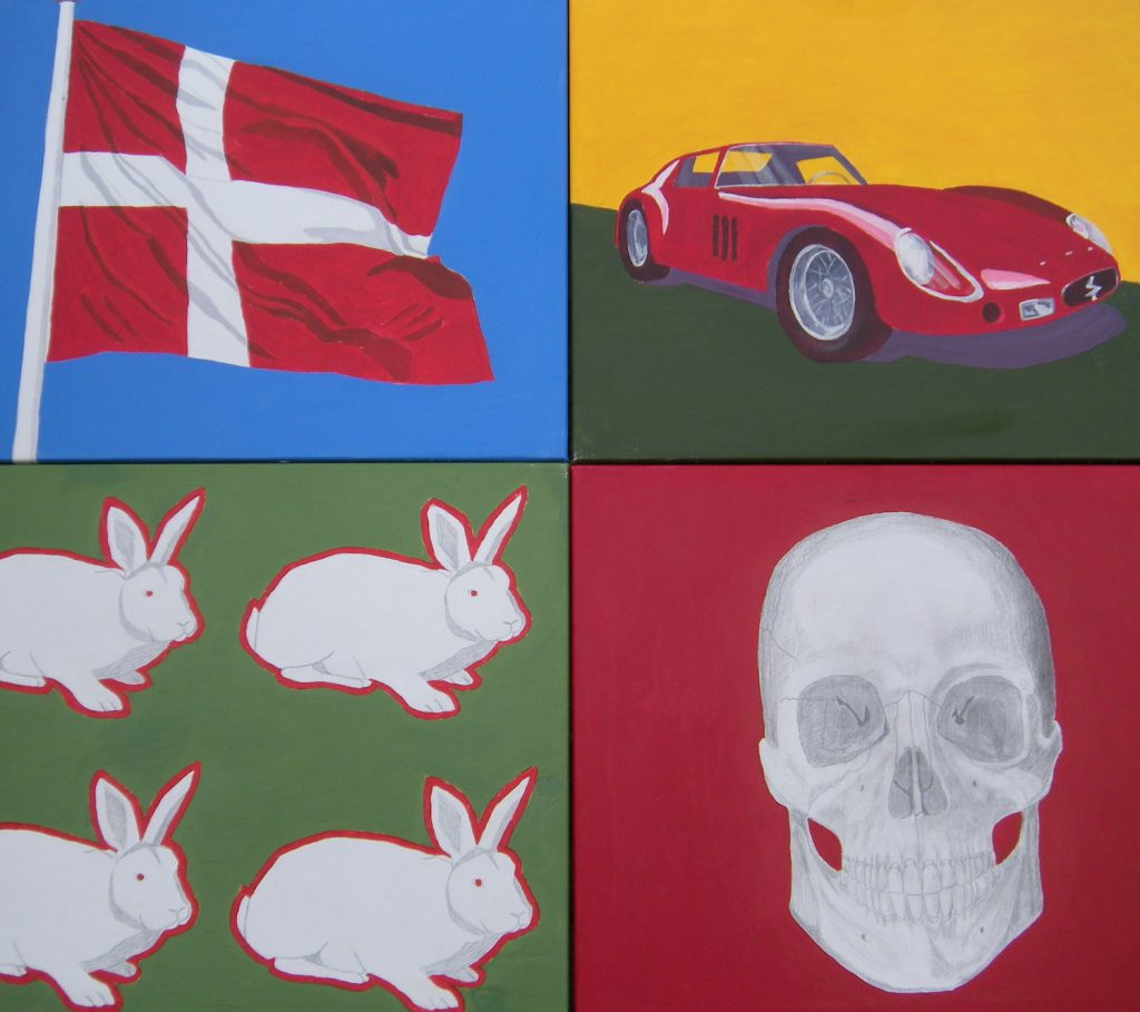 Danish flag, skull, sports car, rabbits