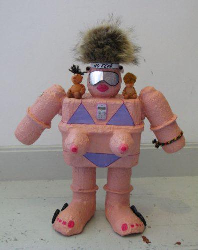 Cardboard sculpture of a pink robot