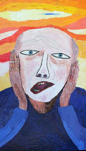 self-portrait echoing Munch's famous painting of a man screaming