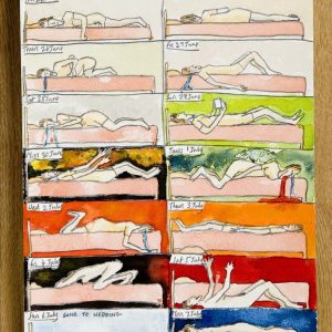a series of 12 drawings of a woman lying naked in bed ina state of mental distress