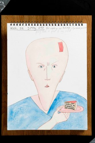 a watercolour of a large bald head with a band-aid plaster on the forehead