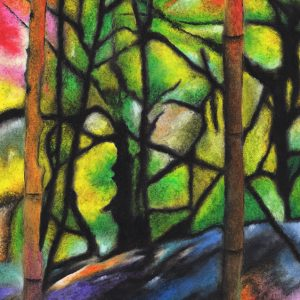 expressive painting of the bones of trees in vibrant yellows and greens