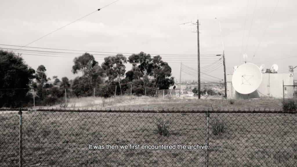 Film still depicting satellite dish