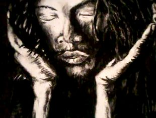 Illustration of a black man holding his dreads