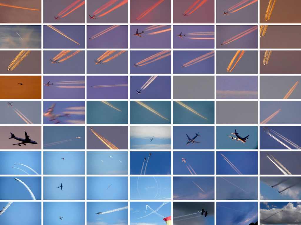 Detail of 56 images in a grid of planes flying across the sky