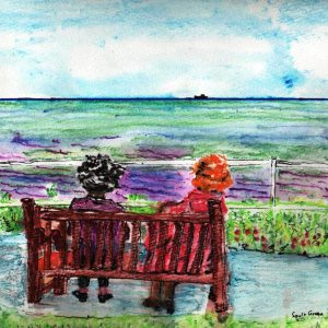 watercolour of the backs of a couple sat on a bench facing the sea