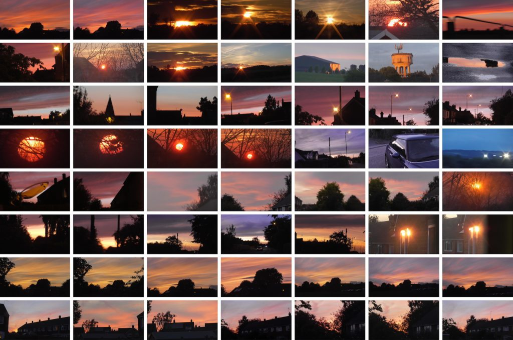Detail of 56 images of sunsets in an urban environment