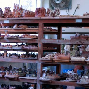 rows of small ceramic sculptures sit on shelves in the art studio