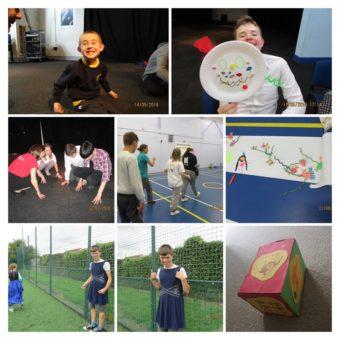 Collage of children at theatre workshops