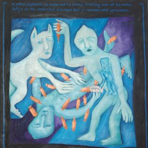 painting of several figures with a blue tinge