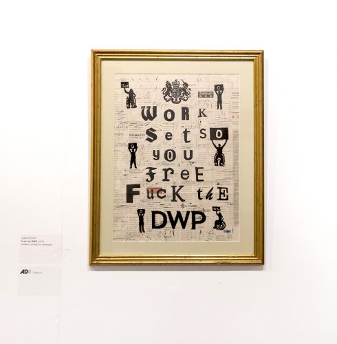 A collage with the words 'fuck the DWP sits inside a gold frame