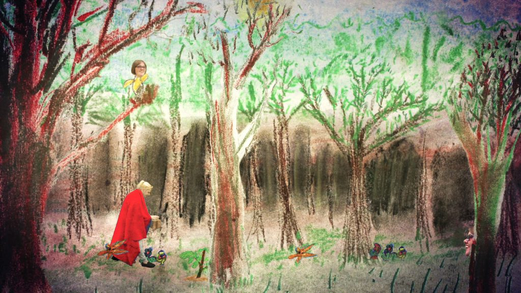 a woman dressed in a red cloak sets out through a painted wood
