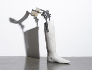 Concrete cast of a prosthetic leg