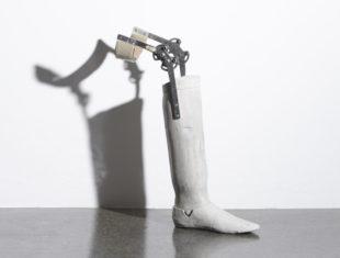 Concrete cast of a prosthetic leg