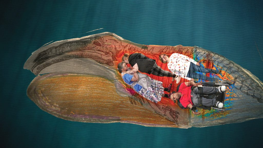 image taken from above, of three individuals lying down on a painted boat