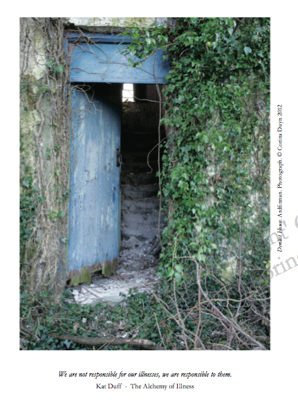 Photo of a blue wooden door. The frame is rotting and covered with ivy